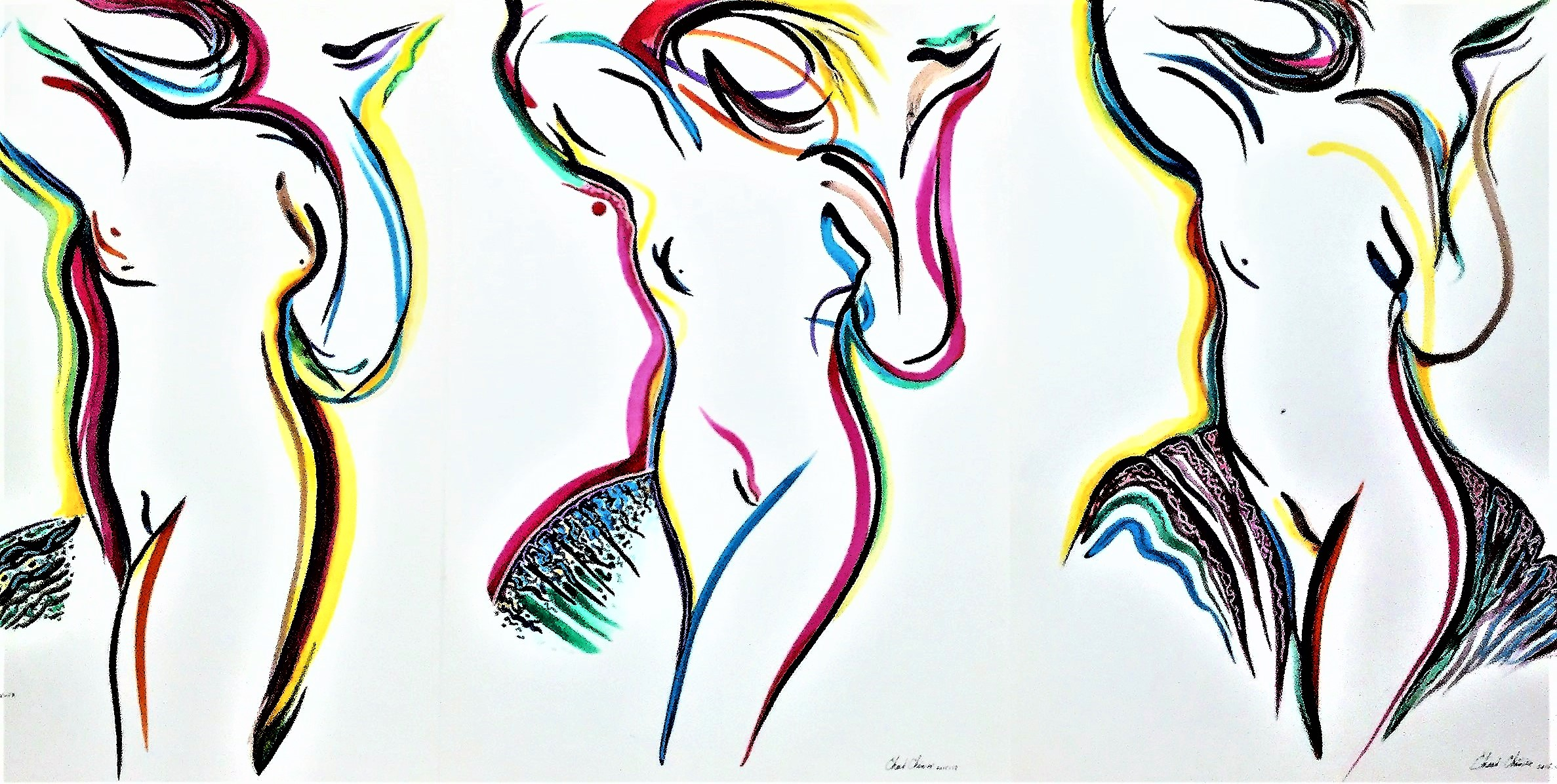 Triptych-of-Three-Graces-mixed-media-paperwork-66-in-x-30-in