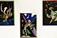 3-Dancers-Mixed-media-triptych-paperwork